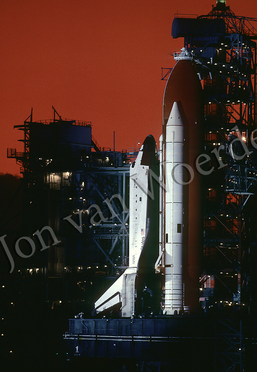 NASA Space Shuttle Columbia STS 5 on the launchpad after sunset prior to it's 7:19 AM launch the following morning, November 11th 1982.