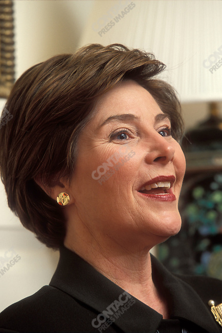 Former First Lady Laura Bush at the White House.  Washington, D.C. December 2001.
