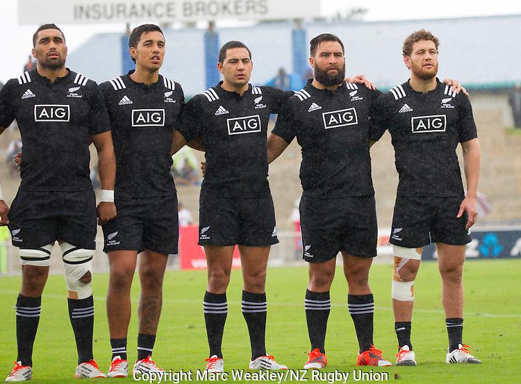 Joe Edwards (L), Sean Wainui, Codey Rei, Joe Royal, Tawera Kerr-Barlow. Maori All Blacks vs. Fiji. Suva. MAB's won 27-26. July 11, 2015. Photo: Marc Weakley