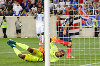 Harrison, NJ - Friday July 07, 2017: Marco Ureña, Luis López during a 2017 CONCACAF Gold Cup Group A match between the men's national teams of Honduras (HON) vs Costa Rica (CRC) at Red Bull Arena.