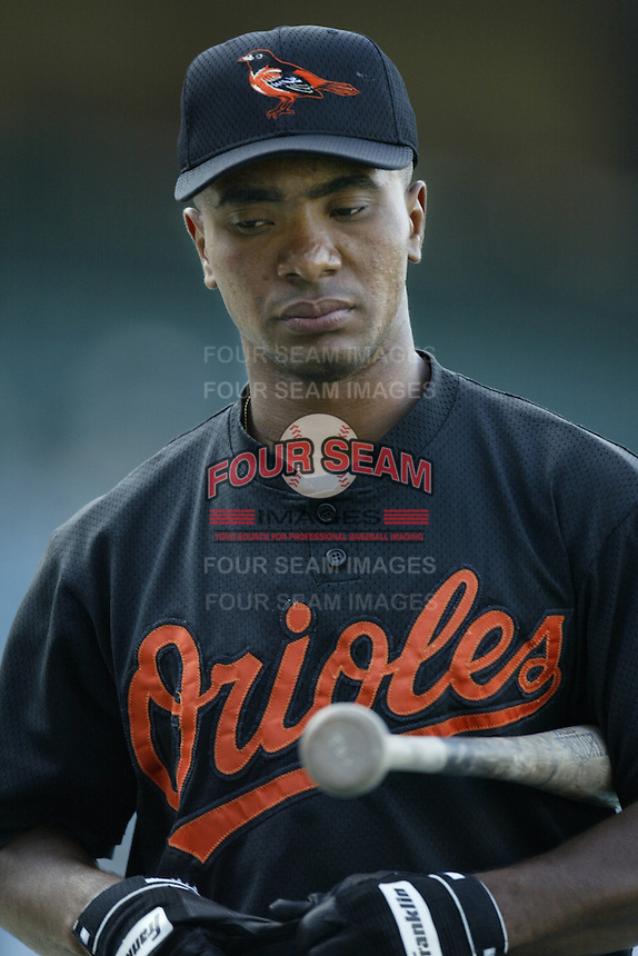 Melvin Mora of the Baltimore Orioles before a 2002 MLB season game against the Los Angeles Angels at Angel Stadium, in Los Angeles, California. (Larry Goren/Four Seam Images)
