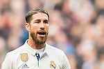 Sergio Ramos of Real Madrid reacts on during their La Liga 2016-17 match between Real Madrid and Malaga CF at the Estadio Santiago Bernabéu on 21 January 2017 in Madrid, Spain. Photo by Diego Gonzalez Souto / Power Sport Images