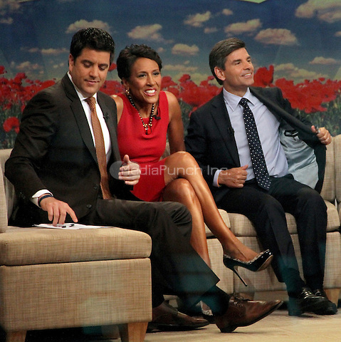 August 28, 2012 Josh Eilliot,Robin Roberts, George Stephanopoulos host of  Good Morning America  in New York City.Credit:© RW/MediaPunch Inc.