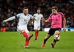 Wayne Rooney of England gets in a cross past James Forrest of Scotland during the FIFA World Cup Qualifying Group F match at Wembley Stadium, London. Picture date: November 11th, 2016. Pic David Klein/Sportimage