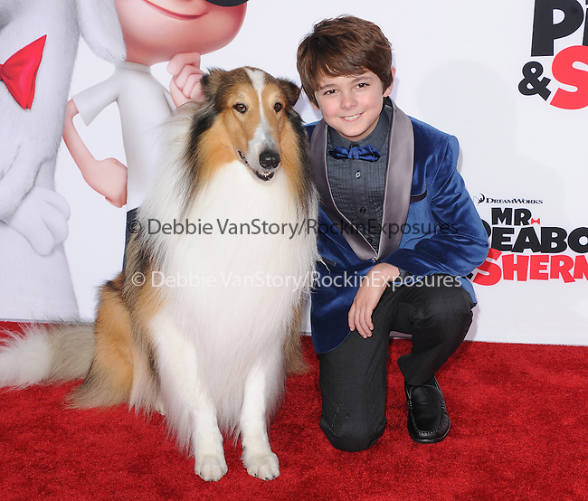 Lassie and Max Charles attends The Twentieth Century Fox and Dreamwork Animation Holly-Woof Premiere of Mr. Peabody & Sherman Premiere held at The Regency Village Westwood in Westwood, California on March 05,2014                                                                               © 2014 Hollywood Press Agency