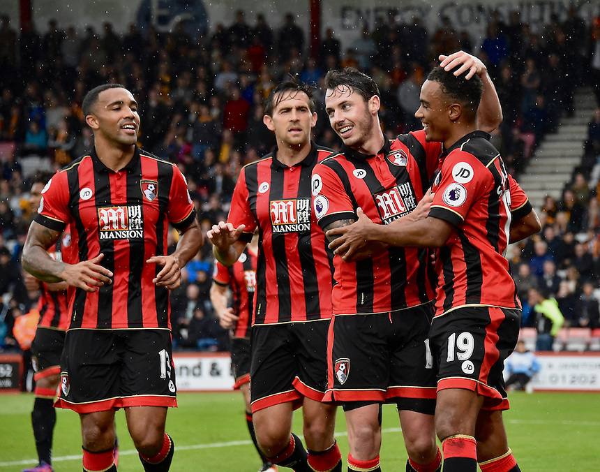 Bournemouth's Junior Stanislas (r) celebrates scoring his sides fourth goal <br /> <br /> Bournemouth 6 - 1 Hull City<br /> <br /> Photographer David Horton/CameraSport<br /> <br /> The Premier League - Bournemouth v Hull City - Saturday 15th October 2016 - Vitality Stadium - Bournemouth<br /> <br /> World Copyright &copy; 2016 CameraSport. All rights reserved. 43 Linden Ave. Countesthorpe. Leicester. England. LE8 5PG - Tel: +44 (0) 116 277 4147 - admin@camerasport.com - www.camerasport.com