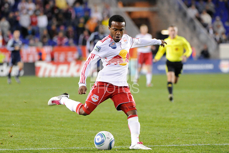 Dane Richards (19) of the New York Red Bulls shoots and scores in the 17th minute during a Major League Soccer (MLS) match against the New England Revolution at Red Bull Arena in Harrison, NJ, on October 21, 2010.