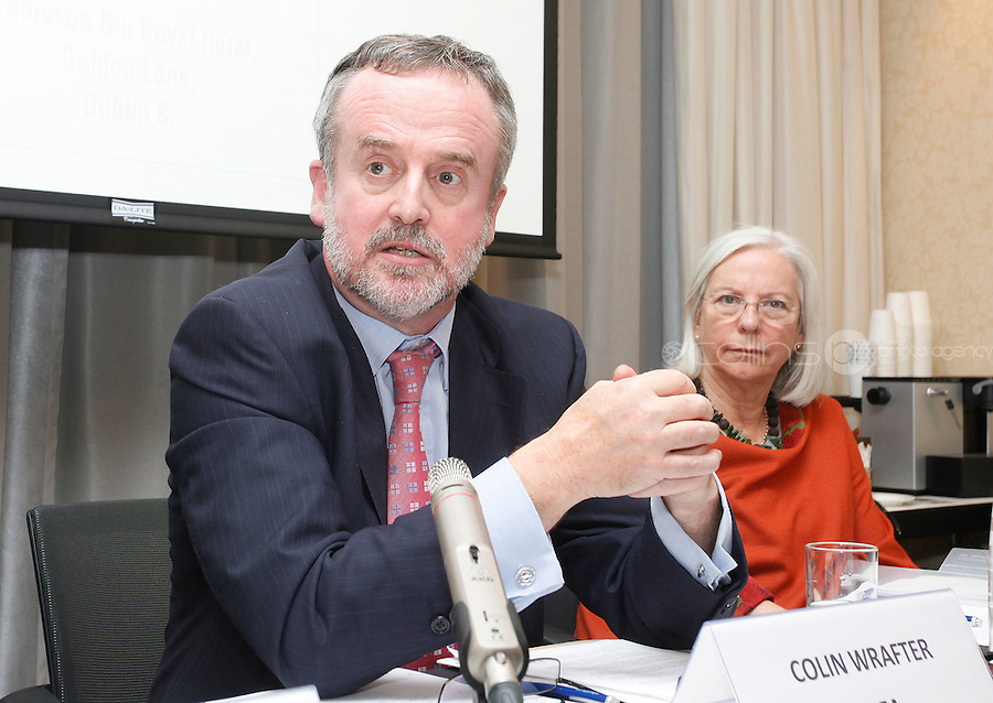 *** NO FEE PIC***.09/11/2011.(L to r) Colin Wrafter Director Human Rights unit Dept of Foreign Affairs,.Rosslyn Noonan Chairperson of the International Co-ordinating Committee (ICC) .during an Amnesty International Ireland & the Irish Council for Civil Liberties Information evening on the 'Dublin Process' of Treaty Body Reform at the Radisson Blu Royal Hotel, Golden Lane, Dublin..Photo: Gareth Chaney Collins