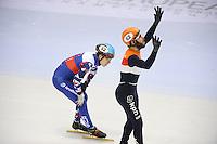 SHORT TRACK: TORINO: 15-01-2017, Palavela, ISU European Short Track Speed Skating Championships, Final Relay Men, Team Russia, Team Netherlands, Finish, Semen Elistratov (RUS), Sjinkie Knegt (NED), ©photo Martin de Jong