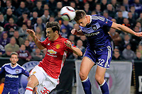 BRUSSELS , BELGIUM - APRIL 13 : `Leander Dendoncker midfielder of RSC Anderlecht scores pictured during  UEFA Europa League quarter final first leg match between Rsc Anderlecht and Manchester United in Brussels, Belgium 13/04/2017. <br /> Bruxelles 13-04-2016 <br /> Anderlecht - Manchester United Europa League <br /> Foto Panoramic / Insidefoto <br /> ITALY ONLY