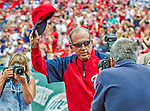 22 September 2013: Washington Nationals Manager Davey Johnson is photographed from both sides as he tips his hat to the fans prior to a game against the Miami Marlins at Nationals Park in Washington, DC. The Marlins defeated the Nationals 4-2 in the first game of their day/night double-header. Mandatory Credit: Ed Wolfstein Photo *** RAW (NEF) Image File Available ***