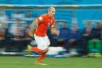 Motion blur of Arjen Robben of the Netherlands