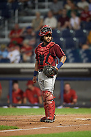 Mahoning Valley Scrappers catcher Jason Rodriguez (9) during a game against the Williamsport Crosscutters on August 28, 2018 at BB&T Ballpark in Williamsport, Pennsylvania.  Williamsport defeated Mahoning Valley 8-0.  (Mike Janes/Four Seam Images)