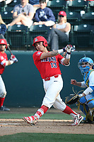 Nick Guintana (13) of the Arizona Wildcats bats against the UCLA Bruins at Jackie Robinson Stadium on March 19, 2017 in Los Angeles, California. UCLA defeated Arizona, 8-7. (Larry Goren/Four Seam Images)