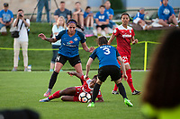 Kansas City, MO - Saturday May 27, 2017: Sydney Leroux, Francisca Ordega, Becca Moros during a regular season National Women's Soccer League (NWSL) match between FC Kansas City and the Washington Spirit at Children's Mercy Victory Field.