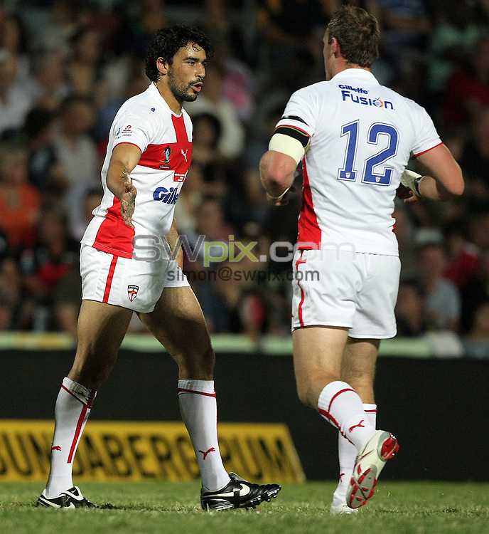 PICTURE BY VAUGHN RIDLEY/SWPIX.COM - Rugby League - Rugby League World Cup 2008 - England v Papua New Guinea - Dairy Farmers Stadium, Townsville, Australia - 25/10/08...Copyright - Simon Wilkinson - 07811267706...England's Ade Gardner is congratulated on his 2nd try by Gareth Ellis.