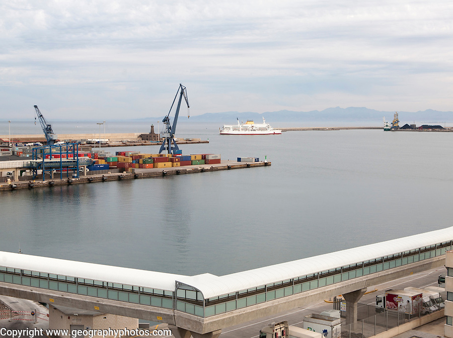 View over harbour port quayside Melilla autonomous city state Spanish territory in north Africa, Spain