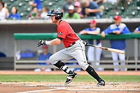 Birmingham Barons second baseman Trey Michalczewski (27) swings at a pitch during a game against the Tennessee Smokies at Smokies Stadium on May 6, 2018 in Kodak, Tennessee. The Smokies defeated the Barons 6-2. (Tony Farlow/Four Seam Images)