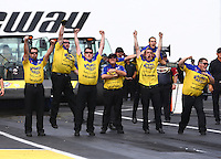 Jun. 2, 2013; Englishtown, NJ, USA: NHRA crew members celebrate for funny car driver Matt Hagan during the Summer Nationals at Raceway Park. Mandatory Credit: Mark J. Rebilas-