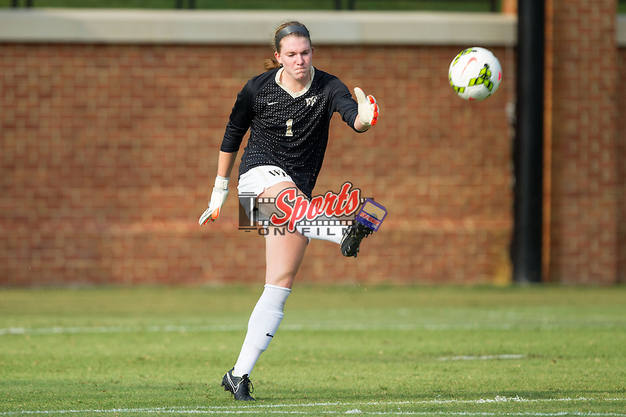 Lindsay Preston (1) of the Wake Forest Demon Deacons kicks the ball downfield during first half action against the James Madison Dukes at Spry Soccer Stadium on August 29, 2014 in Winston-Salem, North Carolina.  The Dukes defeated the Demon Deacons 2-1.   (Brian Westerholt/Sports On Film)