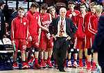 UNCASVILLE CT. 17 March 2018-031718SV02-Wamogo Coach Gregg Hunt heads up to receive the runner up trophy after the 58-40 loss to Cromwell during the CIAC Division V Finals at Mohegan Sun Arena in Uncasville Saturday.<br /> Steven Valenti Republican-American