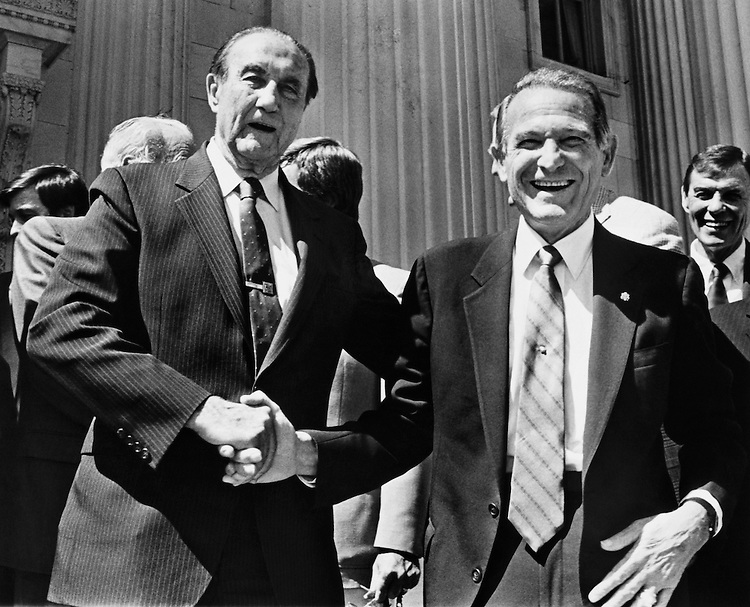 Sen. James Strom Thurmond, R-S.C., and Rep. Floyd Davidson Spence, D-S.C., House National Security Committee Chairman greet each other. September 25, 1988 (Photo by Andrea Mohin/CQ Roll Call)