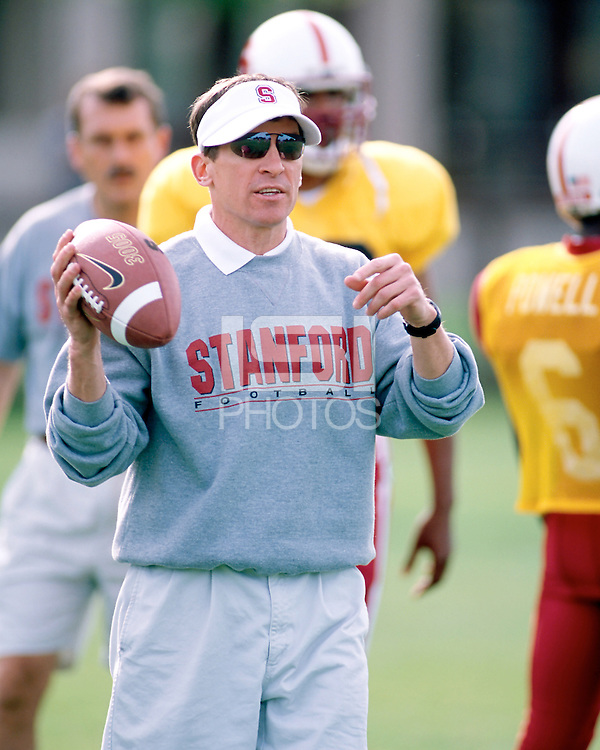 Buddy Teevens during spring practice on April 8, 2002 at the football practice field.<br />