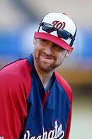 Chad Tracy #18 of the Washington Nationals before a game against the Los Angeles Dodgers at Dodger Stadium on May 13, 2013 in Los Angeles, California. (Larry Goren/Four Seam Images)