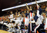 Virginia players react to a play during the second half of an NCAA basketball game against Florida State Saturday Jan. 18, 2014 in Charlottesville, VA. Virginia defeated Florida State 78-66. (AP Photo/Andrew Shurtleff)