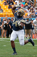 Pitt defensive lineman Amir Watts. The Pitt Panthers football team defeated the Georgia Tech Yellow Jackets 24-19 on September 15, 2018 at Heinz Field in Pittsburgh, Pennsylvania.