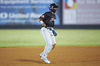 Khalil Lee (20) of the Wilmington Blue Rocks takes his lead off of second base during the 2018 Carolina League All-Star Classic at Five County Stadium on June 19, 2018 in Zebulon, North Carolina. The South All-Stars defeated the North All-Stars 7-6.  (Brian Westerholt/Four Seam Images)