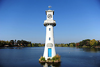 WEATHER PICTURE WALES<br /> Pictured: A general view of the lake in Roath Park, Cardiff, South Wales, UK. Wednesday 10 October 2018<br /> Re: Sunshine and high temperatures for the time of the year experienced throughout the UK.