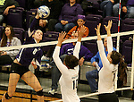 SIOUX FALLS, SD - OCTOBER 4:  Emily Johnson #8 from the University of Sioux Falls looks to get a kill past Shaunessy Dauwalder #10 and Taylor Butters #1 from Minot State during their game Saturday afternoon at the Stewart Center. (Photo/Dave Eggen/Inertia)
