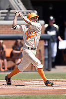 Tennessee Volunteers right fielder Chris Hall (5) swings at a pitch during a game against the Vanderbilt Commodores at Lindsey Nelson Stadium on April 24, 2016 in Knoxville, Tennessee. The Volunteers defeated the Commodores 5-3. (Tony Farlow/Four Seam Images)