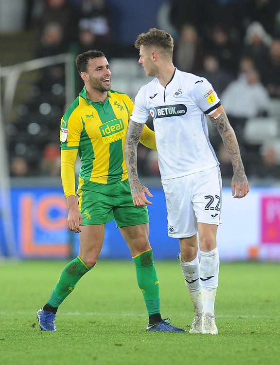 West Bromwich Albion's Hal Robson-Kanu gets in Swansea City's Joe Rodon's face after a foul<br /> <br /> Photographer Kevin Barnes/CameraSport<br /> <br /> The EFL Sky Bet Championship - Swansea City v West Bromwich Albion - Wednesday 28th November 2018 - Liberty Stadium - Swansea<br /> <br /> World Copyright &copy; 2018 CameraSport. All rights reserved. 43 Linden Ave. Countesthorpe. Leicester. England. LE8 5PG - Tel: +44 (0) 116 277 4147 - admin@camerasport.com - www.camerasport.com