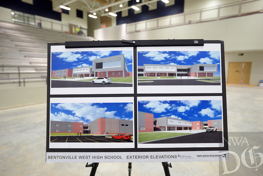 NWA Democrat-Gazette/BEN GOFF @NWABENGOFF<br /> Renderings of Bentonville West High School sit on display in the basketball arena on Monday Jan. 18, 2016 as the district offers tours of the new school under construction in Centerton for future students and parents.