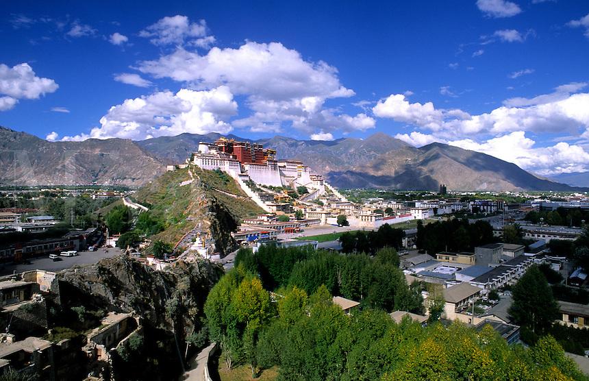 Potala Palace on mountain range, home of the Dalai Lama in capital city of Lhasa Tibet China