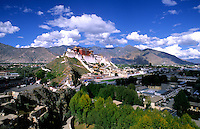 Potala Palace on mountain range, home of the Dalai Lama in capital city of Lhasa Tibet China