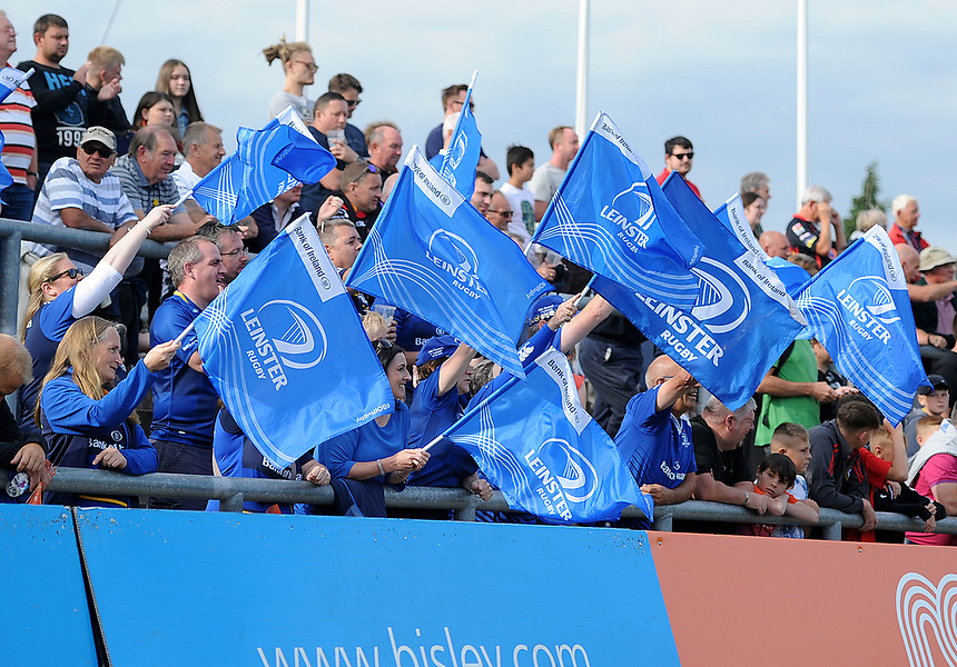 Leinster fans in action during todays match<br /> <br /> Photographer Ashley Crowden/CameraSport<br /> <br /> Guinness Pro14 Round 1 - Dragons v Leinster Rugby - Saturday 2nd September 2017 - Rodney Parade - Newport, Wales<br /> <br /> World Copyright &copy; 2017 CameraSport. All rights reserved. 43 Linden Ave. Countesthorpe. Leicester. England. LE8 5PG - Tel: +44 (0) 116 277 4147 - admin@camerasport.com - www.camerasport.com