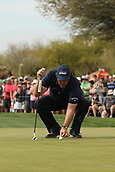 January 31st 2019, Scotsdale, Arizona, USA; Phil Mickelson replaces his ball to putt on the 9th green during the first round of the Waste Management Phoenix Open