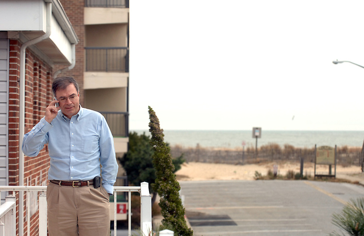 Candidate Andy Harris, R-1st/MD, talks on the phone before appearing on Power Talk with Jack Gillen and Company, in Ocean City, Maryland.