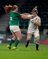 England's Marlie Packer is tackled by Ireland's Fiona Reidy<br /> <br /> Photographer Bob Bradford/CameraSport<br /> <br /> 2018 Women's Autumn Internationals - England Women v Ireland Women - Saturday 24th November 2018 - Twickenham - London<br /> <br /> World Copyright &copy; 2018 CameraSport. All rights reserved. 43 Linden Ave. Countesthorpe. Leicester. England. LE8 5PG - Tel: +44 (0) 116 277 4147 - admin@camerasport.com - www.camerasport.com
