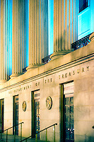 northern entrance of the US Treasury building, Washington D.C., USA