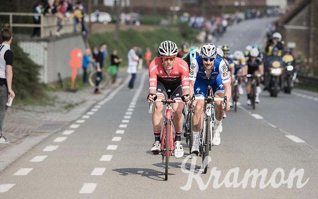 Jasper Stuyven (BEL/Trek-Segafredo) &amp; Tom Boonen (BEL/Quick-Step Floors) leading the race<br /> <br /> 101th Ronde Van Vlaanderen 2017 (1.UWT)<br /> 1day race: Antwerp &rsaquo; Oudenaarde - BEL (260km)