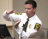 Prince William County (Virginia) Jail Supervisor, Roderick Osborne, gestures as he testifies during the penalty phase in the trial of convicted sniper John Allen Muhammad in courtroom 10 at the Virginia Beach Circuit Court in Virginia Beach, Virginia on November 18, 2003.  John Muhammad was convicted of capital murder on November 17, 2003 for his role as organizer of a two-man sniper team that killed 10 people and terrorized the Washington, D.C. area in 2002. <br /> Credit: Dave Ellis - Pool via CNP