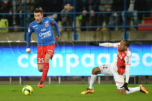 04.03.2016. Caen, France. French League 1 football. Caen versus Monaco.  JULIEN FERET (caen) leaves FABINHO (mon) grounded