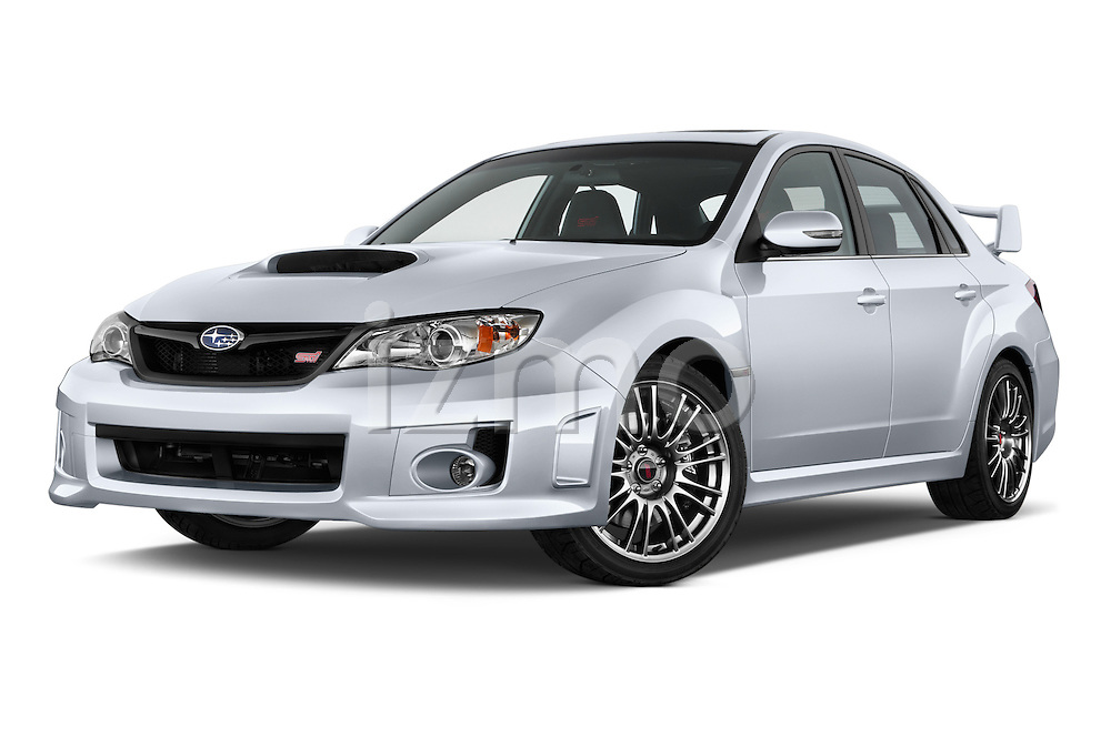 Low aggressive front three quarter view of a 2013 Subaru WRX STI Sedan2013 Subaru WRX STI Sedan