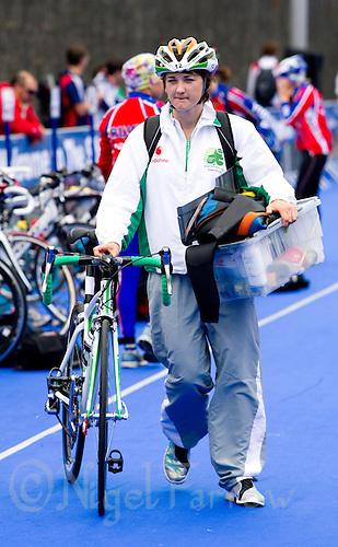 03 JUL 2010 - ATHLONE, IRL - Laura Casey (IRL) walks to rack her bike in transition at the European Junior Womens Triathlon Championships (PHOTO (C) NIGEL FARROW)