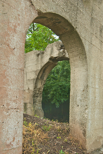 The Joliet Iron Works Historic Site is now a county Forest Preserve, Joliet, Will County, Illinois, seen are patterns in concrete formation ruins
