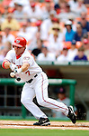 28 August 2005: Brad Wilkerson, outfielder for the Washington Nationals, lays down a bunt against the St. Louis Cardinals. The Cardinals defeated the Nationals 6-0 at RFK Stadium in Washington, DC. Mandatory Photo Credit: Ed Wolfstein.